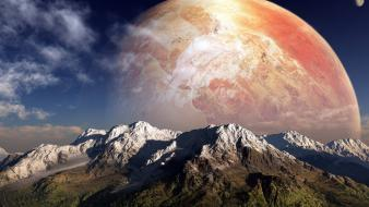 Mountains planets artwork wallpaper