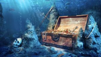 Ocean treasure chest underwater sea Wallpaper
