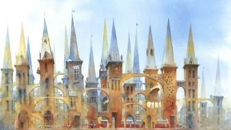 Paintings architecture artwork watercolor arches towers wallpaper