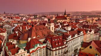 Prague cityscapes rooftops wallpaper