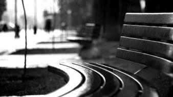 Rain urban bench grayscale blurred background wallpaper