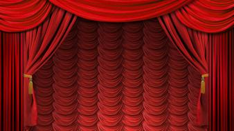 Red curtains theatre stage wallpaper