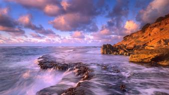 Seascape clouds landscapes nature rocks wallpaper