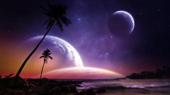 Space trees planets paradise escape artwork skies wallpaper