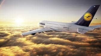 Sunset clouds airbus airliners a380-800 lufthansa wallpaper