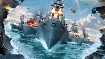 Video games ocean war boats battles battleships sea wallpaper