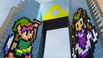 Zelda buildings triforce the legend of cities wallpaper