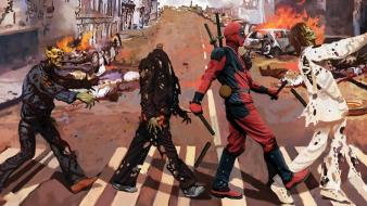 Zombies deadpool wade wilson artwork marvel wallpaper
