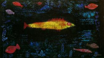 Abstract artwork expressionism fish paintings wallpaper