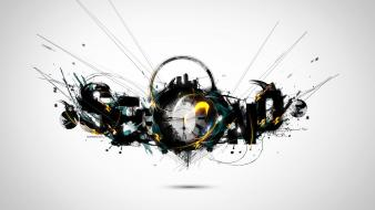 Abstract clocks typography digital art simple background time wallpaper