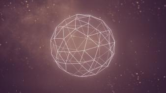 Abstract outer space minimalistic pink geometry 3d graphic wallpaper