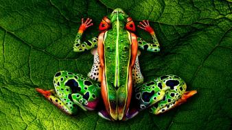 Airbrushed artwork frogs green humans Wallpaper