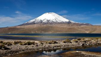 Andes chile lake chungara national park brown wallpaper