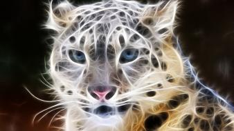 Animals fractalius leopards wallpaper