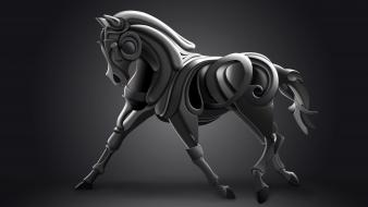 Animals surreal sculpture horses wallpaper