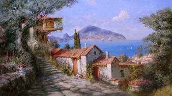 Artwork paintings seaside town wallpaper