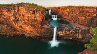Australia emerald cliffs falls green wallpaper