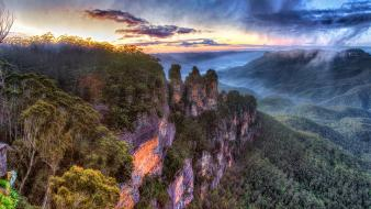 Australia hdr photography three sisters blue cliffs wallpaper