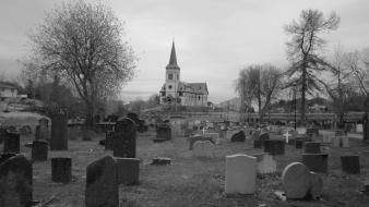 Black and white trees dark church cemetery wallpaper