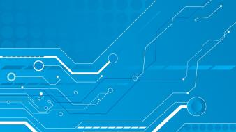 Blue vector technology shapes graphics circuit board wallpaper