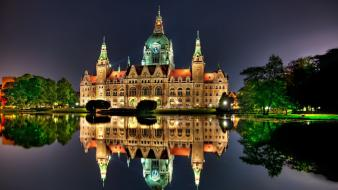 Castles night buildings city hall palace hannover wallpaper