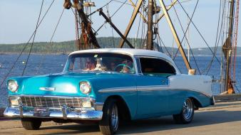 Chevrolet bel air front angle view vintage car wallpaper