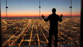 Chicago national geographic city lights cityscapes observation deck wallpaper