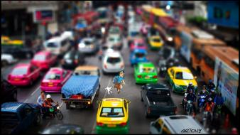 Cityscapes thailand taxi tilt-shift tintin bangkok wallpaper