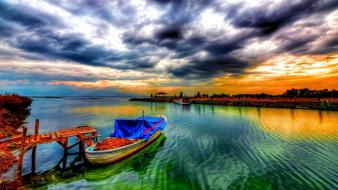 Clouds landscapes boats hdr photography wallpaper