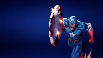 Comics captain america marvel blue background wallpaper