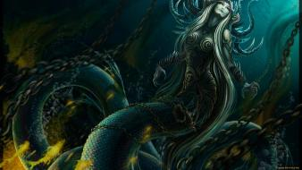 Creatures chains underwater body painting spirals world Wallpaper