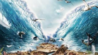 Digital art fantasy manipulations push sea Wallpaper