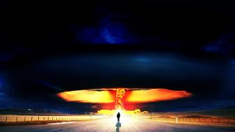 Explosions roads skies nuclear explosion Wallpaper