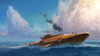 Fantasy art ships steampunk wallpaper