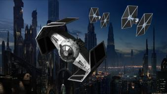 Fiction cities tie fighter sci-fi futuristic city wallpaper