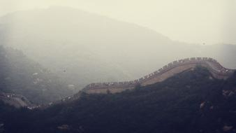 Fog mist chinese great wall of china wallpaper