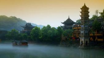 Forests china fog buildings asian architecture bing Wallpaper