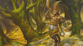 Forests horns fantasy art satyr creatures spears wallpaper