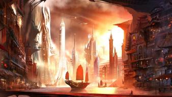 Futuristic ships fantasy art asian architecture alex ruiz wallpaper