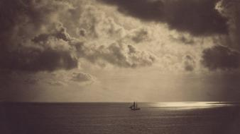 Gustave le gray boats clouds monochrome old photography Wallpaper