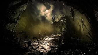 Horror paintings dark monsters bridges fantasy art artwork wallpaper