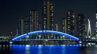 Japan bridges cities city night japon wallpaper