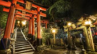 Japan kyoto cemetery gates shrines wallpaper