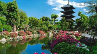 Japan nature trees flowers garden kyoto lakes wallpaper