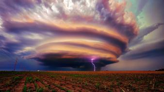 Landscapes lightning storm wallpaper