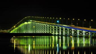 Lights china bridges street rivers reflections bing macau wallpaper