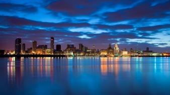 Liverpool united kingdom city skyline rivers evening bing wallpaper