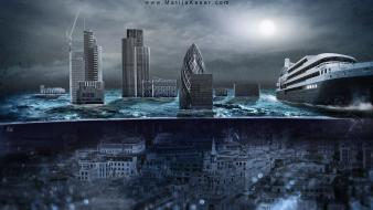 London underwater matija keser apocalyptic global warming wallpaper