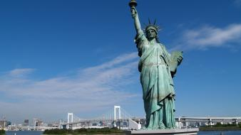 Manhattan statue of liberty tokyo architecture bridges Wallpaper