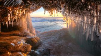 Nature snow white stalactites ice cave cavern wallpaper